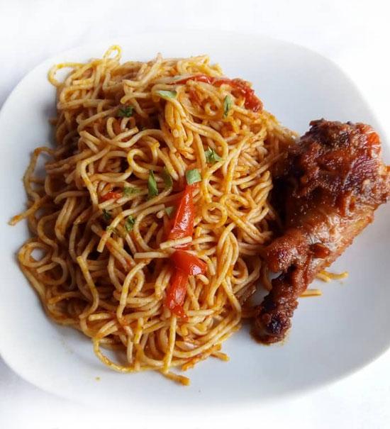 Jollof Spaghetti with Chicken