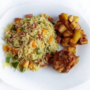 haddicious fried rice with plantain and chicken