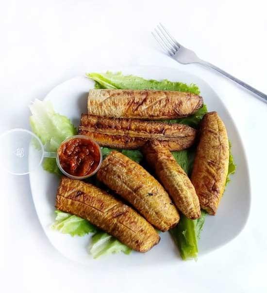 haddicious roasted plantain with sauce